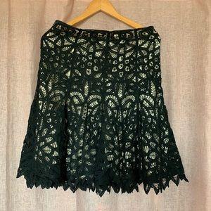 Betsey Johnson black cream crochet vintage skirt
